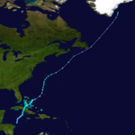 The path of a tropical cyclone starts in the southern Caribbean Sea and heads northward. After losing its tropical status, the storm's remnants dissipate near Greenland.