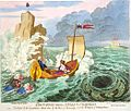 Colour engraving of carroon ship at sea flying flag with red cross over white saltire on blue background.