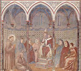 Franciscus preekt tot Honorius III (door Giotto di Bondone, 1296-98)