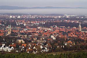View to the North with the Hildesheim downs in the background. Photograph taken from the Maltermeister Tower