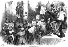 A Thomas Nast cartoon depicting President Grant after vetoing the Inflation bill.