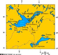Localización en la región (el lago Athabasca aparece en la imagen abajo a la derecha)
