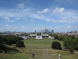 View of Queens House and Canary Wharf from Greenwich Park