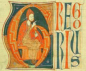 Gregorius IX in een handschrift uit ± 1270