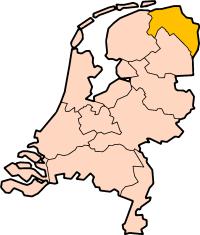 Localisation province Groningue des Pays-Bas