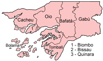 A clickable map of Guinea-Bissau exhibiting its eight regions and one autonomous sector.