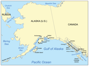 Map showing the Gulf of Alaska