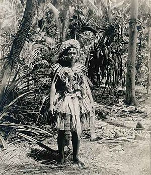 1900, Woman on Funafuti, Tuvalu, then known as Ellice Islands