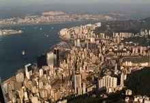 A sky view of Hong Kong Island