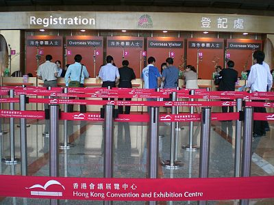 HK Convention and Exhibition Centre Wan Chai Registration Counters.JPG