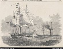 Etching of HMS Herald from the London Illustrated News with the steamship Torch in the background