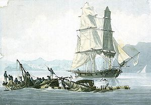 Watercolour of a sailing ship seen in starboard bow view, with hills and mountains in the background. In the foreground floating on the water are pieces of wreckage of wood, ropes and sails, with figures clinging to them.