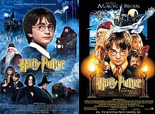 """Two posters, one with photographs and the other hand-drawn, both depicting a young boy with glasses, an old man with glasses, a young girl holding books, a redheaded boy, and a large bearded man in front of a castle, with an owl flying. The left poster also features an adult man, an old woman, and a train, with the titles being """"Harry Potter and the Philosopher&squot;s Stone"""". The right poster has a long-nosed goblin and blowtorches, with the title """"Harry Potter and the Sorcerer&squot;s Stone""""."""