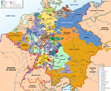 map of the Holy Roman Empire (central Europe) in 1789 showing the several hundred states, in different colors