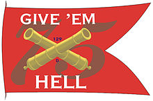 "Battle flag with red background with the number 75, crossed canon barrels and phrase ""Give &squot;em Hell"""