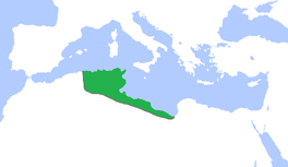 Grootste omvang van het Hafsidenrijk, van circa 1300 tot 1500.