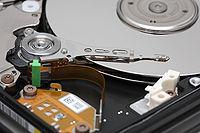 Hard disk platters and head.jpg