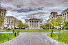Harvard Medical School quadrangle in Longwood Medical Area.