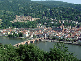 Heidelberg, with Heidelberg Castle on the hill and the Old Bridge over river Neckar