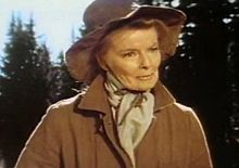 Screenshot of Hepburn in rural clothes, age 68