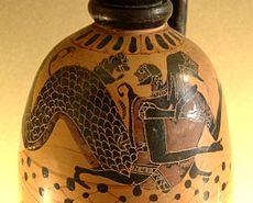 Héraclès et Nérée, lécythe à figures noires, v. 590-580 av. J.-C., musée du Louvre (CA 823).