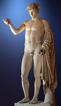 """So-called """"Logios Hermes"""" (Hermes,Orator). Marble, Roman copy from the late 1st century CE - early 2nd century CE after a Greek original of the 5th century BCE."""