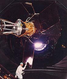 Hipparcos satellite in the Large Solar Simulator, ESTEC, February 1988
