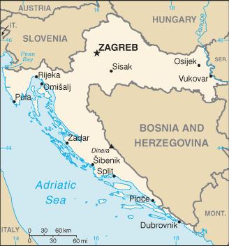 克罗地亚地圖