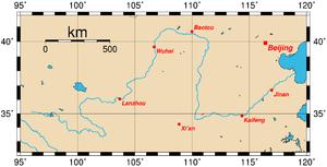 Carte du cours du Huang He.