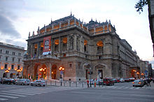 exterior of a large neo-classical theatre