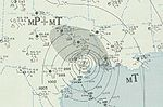 Weather map depicting a storm moving inland over Texas