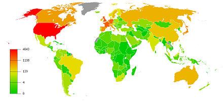 Carte des principaux pays investisseurs à fin 2010