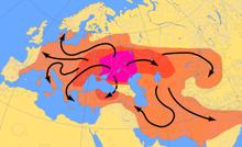 Carte très hypothétique de l'expansion de la culture indo-européenne
