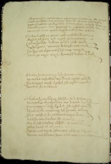 Photographie présentant une page d'un recueil notarial manuscrit composé en trois paragraphes bien distincts.