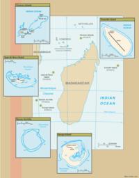 Location of the Scattered Islands in the Indian Ocean: Anti-clockwise from top right: Tromelin Island, Glorioso Islands, Juan de Nova Island, Bassas da India, Europa Island.