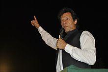 Imran Khan addressing a crowd at Hyderabad.