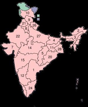 Nummerert kart over Indias delstater