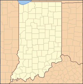 Map showing the location of Chain O'Lakes State Park, Indiana, USA