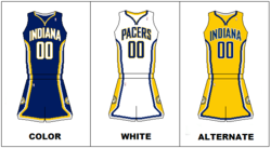 Indiana Pacers' current uniforms
