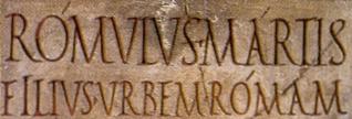 Détail d'une inscription latine avec apex