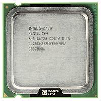 Top view of an Intel Pentium 4 Prescott 640 model