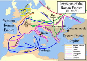 Map of Europe, with colored lines denoting migration routes