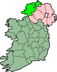 Localização do Condado de Donegal na Irlanda