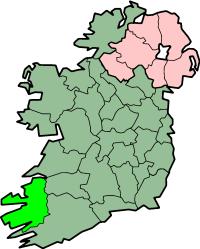 Localização do Condado de Kerry na Irlanda