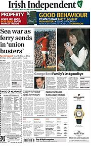 Broadsheet version of the Irish Independent, 24 November 2005