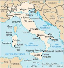 Carte géographique de l'Italie