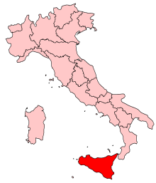 Mapa Itálie s vyznačenou polohou Sicílie