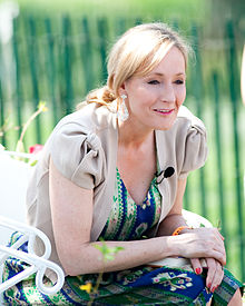 J.K. Rowling, a blond, blue-eyed woman, who is the author of the series.