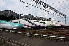 JR East Shinkansen lineup at Niigata Depot 200910.jpg