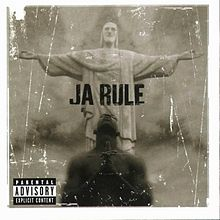 "A sepia-colored album cover. On the lower part of the cover, the upper torso of an African American man is seen. His head is turned upward, eyes closed and hands clasped together. On the upper part of the cover, behind the man, stands a white statue of Jesus Christ, with its arms stretched outward, with its palms facing upward. In the center, it reads ""Ja Rule"" in all capital letters."